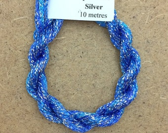 4/167 Viscose Sparkle Chainette with Silver Lurex, No.03 Sky, 10m (11 yards) skein, Embroidery Thread