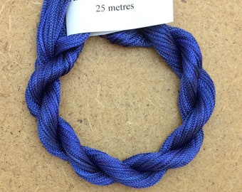 Viscose Chainette 4/167, Colour No.52 Ultramarine, Hand Dyed Thread, Rayon Ribbon, 25 metres