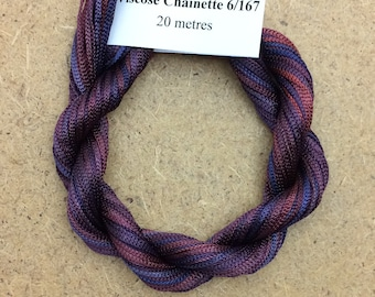 Viscose Chainette 6/167, Colour No.49 Burgundy, Hand Dyed Thread, Rayon Ribbon, 20 metres