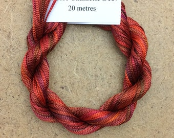 Viscose Chainette 6/167, Colour No.02 Antique Red, Hand Dyed Thread, Rayon Ribbon, 20 metres