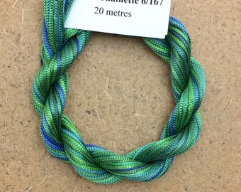 Viscose Chainette 6/167, Colour No.20 Jade, Hand Dyed Thread, Rayon Ribbon, 20 metres