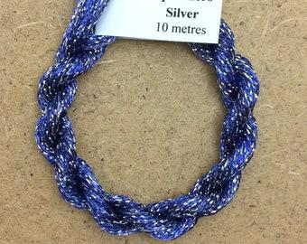 4/167 Viscose Sparkle Chainette with Silver Lurex, No.52 Ultramarine, 10m (11 yards) skein, Embroidery Thread