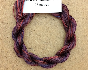 Viscose Chainette 4/167, Colour No.49 Burgundy, Hand Dyed Thread, Rayon Ribbon, 25 metres