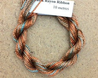 Thick Viscose Ribbon 3/660, Colour No.21 Rust, Hand Dyed Embroidery Thread, Canvaswork, Needlepoint