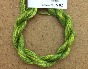 Silk 8/2 No.82 Chartreuse, Embroidery Thread, Hand Dyed Embroidery Thread, Artisan Thread, Textile Art