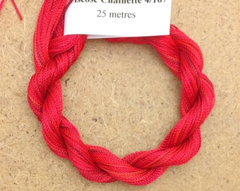 Viscose Chainette 4/167, Colour No.14 Christmas, Hand Dyed Thread, Rayon Ribbon, 25 metres