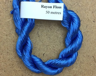 Rayon Floss, Hand Dyed 4 Strand Viscose Floss, Colour No.03 Sky, Hand Dyed Viscose Floss, Embroidery Thread, Braidmaking, Kumihimo