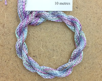 Hand Dyed 3600/2 Viscose Cord, Colour No.80 Sky Blue Pink, Rayon II, Embroidery, Thread, Needlepoint