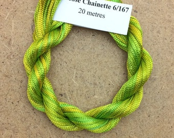 Viscose Chainette 6/167, Colour No.50 Lime and Lemon, Hand Dyed Thread, Rayon Ribbon, 20 metres