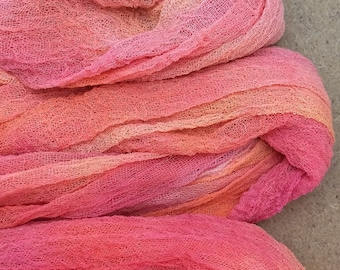 Hand Dyed Cotton Scrim, Colour Peach Melba, Hand Dyed scarf Length, Openweave Fabric, Nuno Felting