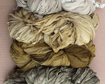 Eco Dyed Sari Silk Chiffon Ribbon, Silk Ribbon, Silk Chiffon Ribbon, Pure Silk Ribbon, Wide Silk Ribbon, 22metres (25yards)