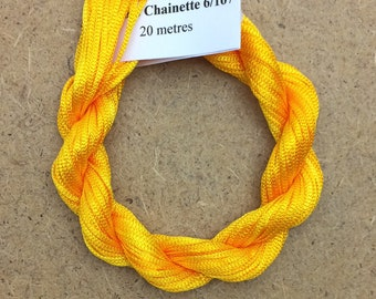 Viscose Chainette 6/167, Colour No.51 Daffodil, Hand Dyed Thread, Rayon Ribbon, 20 metres