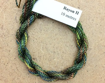 Hand Dyed 3600/2 Viscose Cord, Colour No.15 Sludgy Green, Rayon II, Embroidery, Thread, Needlepoint