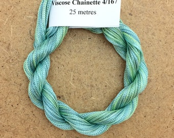 Viscose Chainette 4/167, Colour No.33 Aquamarine Hand Dyed Thread, Rayon Ribbon, 25 metres