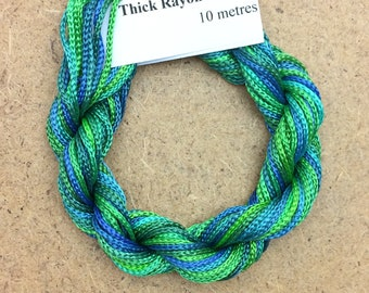 Thick Viscose Ribbon 3/660, Colour No.20 Jade, Hand Dyed Embroidery Thread, Canvaswork, Needlepoint