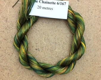 Viscose Chainette 6/167, Colour No.15 Sludgy Green, Hand Dyed Thread, Rayon Ribbon, 20 metres