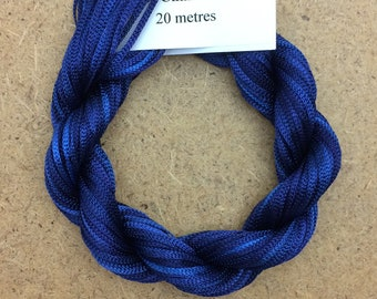 Viscose Chainette 6/167, Colour No.52 Ultramarine, Hand Dyed Thread, Rayon Ribbon, 20 metres