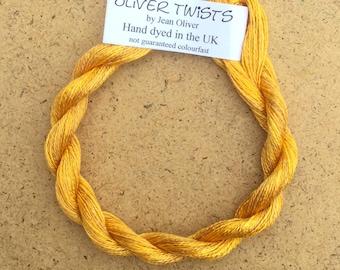 Silk 30/2 No.07 Yellow Ochre, Embroidery Thread, Hand Dyed Embroidery Thread, Artisan Thread, Textile Art, No.07 Yellow Ochre