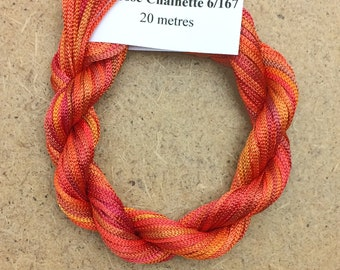 Viscose Chainette 6/167, Colour No.13 Sunset, Hand Dyed Thread, Rayon Ribbon, 20 metres