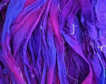 No.05 Violet, Sari Silk Chiffon Ribbon Hand Dyed, Silk Ribbon, Wide Silk Ribbon, Silk Chiffon Ribbon