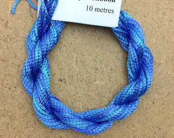 Thick Viscose Ribbon 3/660, Colour No.03 Sky, Hand Dyed Embroidery Thread, Canvaswork, Needlepoint