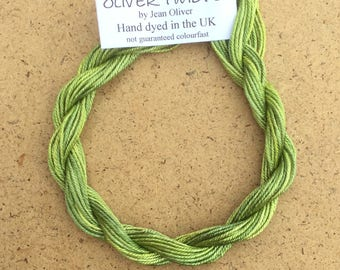 Silk Como No.82 Chartreuse, Hand Dyed Embroidery Thread, Artisan Thread, Textile Art, No.82 Chartreuse