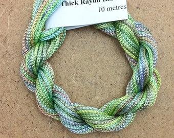 Thick Viscose Ribbon 3/660, Colour No.39 Pistachio, Hand Dyed Embroidery Thread, Canvaswork, Needlepoint