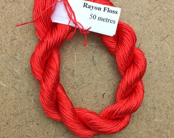 Rayon Floss, Hand Dyed 4 Strand Viscose Floss, Colour Orange/Scarlet, Hand Dyed Viscose Floss, Embroidery Thread, Braidmaking, Kumihimo