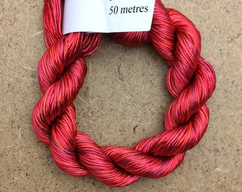 Rayon Floss, Hand Dyed 4 Strand Viscose Floss, Colour No.14 Christmas, Hand Dyed Viscose Floss, Embroidery Thread, Braidmaking, Kumihimo