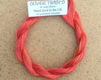 Silk Flamme No.13 Sunset, Hand Dyed Embroidery Thread, Artisan Thread, Textile Art, No.13 Sunset