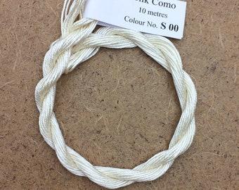 Silk Como, Ivory, Embroidery Thread, Artisan Thread, Textile Art