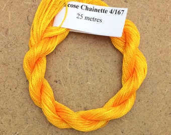Viscose Chainette 4/167, Colour No.51 Daffodil, Hand Dyed Thread, Rayon Ribbon, 25 metres