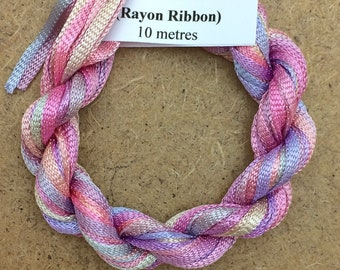 Hand Dyed Viscose Ribbon, Colour No.30 Light Candy Floss, 10m (11 yards), 10/167 Viscose Ribbon, Rayon Ribbon, Embroidery Thread