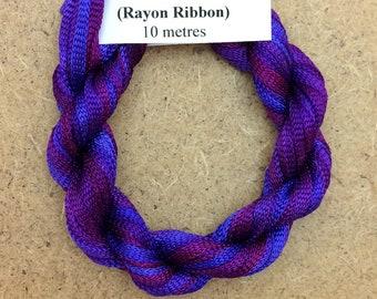 Hand Dyed Viscose Ribbon, Colour No.05 Violet, 10m (11 yards), 10/167 Viscose Ribbon, Rayon Ribbon, Embroidery Thread