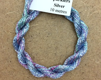 4/167 Viscose Sparkle Chainette with Silver Lurex, No.80 Sky Blue Pink, 10m (11 yards) skein, Embroidery Thread