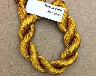 Rayon Floss, No.07 Yellow Ochre, Viscose Floss, 4 Strand Viscose Floss, Embroidery Thread, Braidmaking, Kumihimo