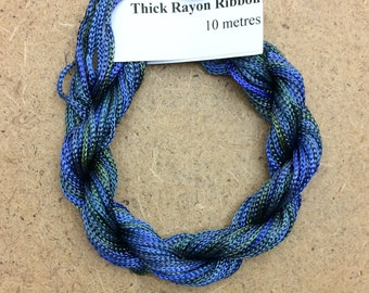 Thick Viscose Ribbon 3/660, Colour No.08 Lagoon, Hand Dyed Embroidery Thread, Canvaswork, Needlepoint