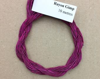 Viscose Gimp Thread,  Cerise, Hand Dyed Gimp, Viscose Gimp, 10 metres,