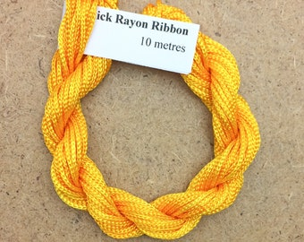 Thick Viscose Ribbon 3/660, Colour No.51 Daffodil, Hand Dyed Embroidery Thread, Canvaswork, Needlepoint