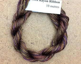 Thick Viscose Ribbon 3/660, Colour No.01 Chocolate, Hand Dyed Embroidery Thread, Canvaswork, Needlepoint
