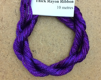 Thick Viscose Ribbon 3/660, Colour No.05 Violet, Hand Dyed Embroidery Thread, Canvaswork, Needlepoint
