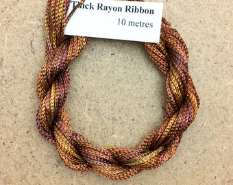 Thick Viscose Ribbon 3/660, Colour No.07 Yellow Ochre, Hand Dyed Embroidery Thread, Canvaswork, Needlepoint