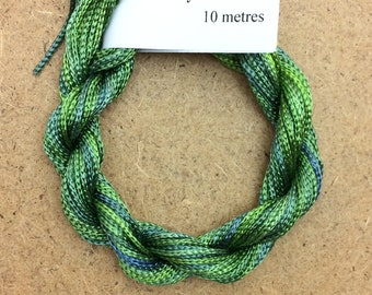 Thick Viscose Ribbon 3/660, Colour No.55 Holly, Hand Dyed Embroidery Thread, Canvaswork, Needlepoint