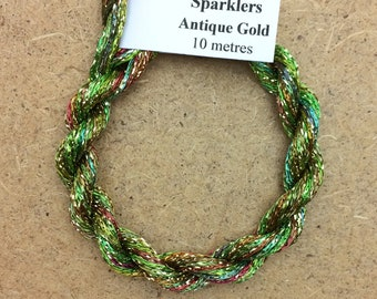 4/167 Viscose Sparkle Chainette with Gold Lurex, No.09 Apple, 10m (11 yards) skein, Embroidery Thread