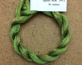 Silk 30/2, Embroidery Thread, Green with hints of Orange, Hand Dyed Embroidery Thread, Artisan Thread, Textile Art, Ref. 01