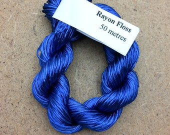 Rayon Floss, Hand Dyed 4 Strand Viscose Floss, Royal Blue, Hand Dyed Viscose Floss, Embroidery Thread, Braidmaking, Kumihimo