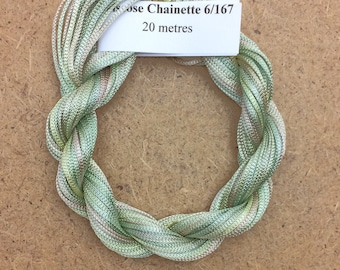 Viscose Chainette 6/167, Colour No.22 Silver Birch, Hand Dyed Thread, Rayon Ribbon, 20 metres