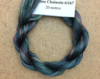 Viscose Chainette 6/167, Colour No.71 Chestnut, Hand Dyed Thread, Rayon Ribbon, 20 metres