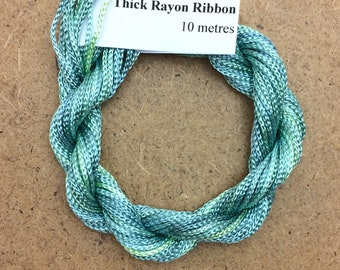 Thick Viscose Ribbon 3/660, Colour No.33 Aquamarine, Hand Dyed Embroidery Thread, Canvaswork, Needlepoint