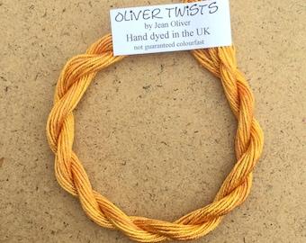 Silk Como No.07 Yellow Ochre, Hand Dyed Embroidery Thread, Artisan Thread, Textile Art, No.07 Yellow Ochre